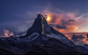 Picture the sky, clouds, light, snow, mountains, night, lights, the wind, the moon, mountain, Matterhorn, The …