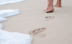 Picture sand, sea, wave, beach, summer, traces, stay, feet, summer, beach, vacation, sea, sand, wave, footprints