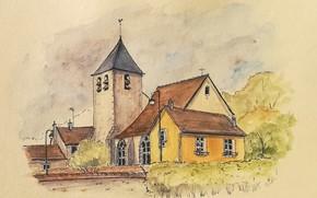 Picture landscape, house, figure, tower, watercolor
