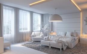Picture design, room, bed, window, bedroom