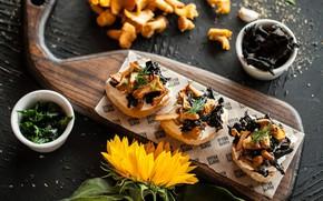 Wallpaper vegetables, food, mushrooms, sandwiches, bread