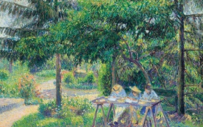 Picture trees, landscape, nature, picture, Camille Pissarro, The children in the Garden in Eragny