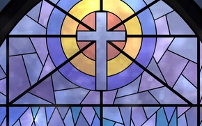 Picture cross, texture, window, stained glass, colored glass, a fragment of glass