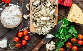 Picture mushrooms, cheese, pepper, tomato, the dough, blanks for pizza