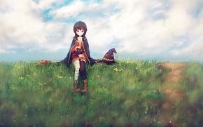 Picture grass, girl, smile, hat, MAG, staff, sitting, anime, art, Kono Subarashii sek'ai is Shukufuku wo, ...