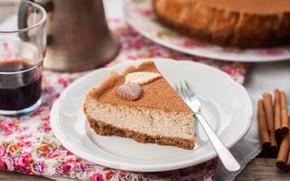 Picture cake, cinnamon, cream, cocoa