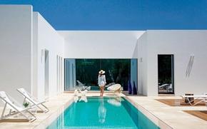 Picture girl, Villa, pool, white, luxury