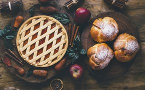 Wallpaper apples, cakes, pie, apples, cinnamon