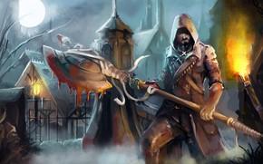 Wallpaper torch, axe, blood, the moon, people, hunter, darkness, home, Bloodborne, axe, hood, cloak