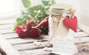 Picture roses, hearts, red, heart, romantic, valentine's day, jar, marshmallows, Valeria Maksakova