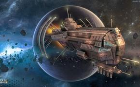 Wallpaper space, planet, ship, stars, some ship