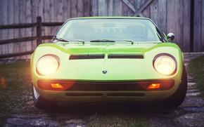 Picture Auto, Lamborghini, Retro, Green, Machine, Light, Eyelashes, 1969, Lights, Car, Supercar, Miura, Supercar, Lamborghini Miura, …