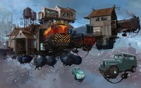 Picture transport, platform, buildings, trains, Serie Universo Chatarra