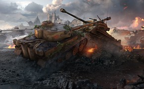 Wallpaper Wargaming Net, Tiger 131, World Of Tanks, WoT, Sherman Fury, World of Tanks