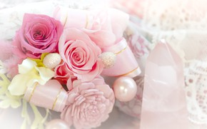 Picture flowers, roses, Bouquet, beads