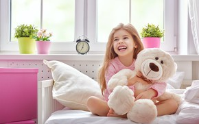 Picture Smile, Toy, Bear, Girl