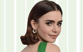 Picture look, background, model, actress, hair, Lily Collins, Lily Collins
