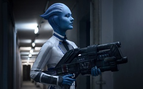 Wallpaper Girl, Mass Effect, Liara T Soni, Cosplay