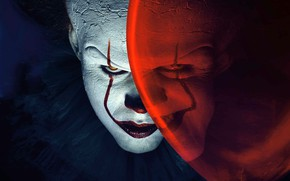 Picture look, clown, it, makeup, smile, actor, ball, the film, Bill, Skarsgard, horror