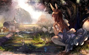 Picture girl, nature, anime, rabbit, ears, tagme (artist)