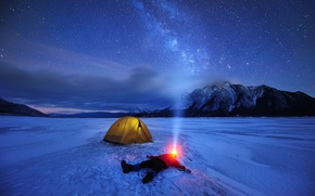 Wallpaper ice, stars, Canada, the sky, the milky way, night, lake, tent, people, flashlight, mountains, winter, ...