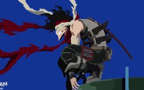 Picture anime, art, guy, killer, blue background, Boku no Hero Academy, My heroic academia