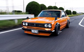 Picture Auto, Machine, Orange, Nissan, Movement, Nissan, Car, 2000, Skyline, Nissan Skyline, 1972, 2000GT, Japanese, 2000GT-R, …
