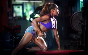 Picture pose, female, workout, Dumbell