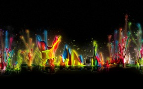 Wallpaper drops, bursts, reflection, black background, the colors of the rainbow, paint, rendering