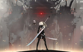 Picture fog, katana, blade, sparks, game, cool, super-weapons, combat robot, 2b yorha, nier automata, Glory to …