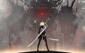Wallpaper Glory to mankind, combat robot, katana, blade, super-weapons, cool, sparks, fog, 2b yorha, nier automata, ...