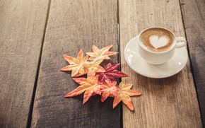 Wallpaper autumn, leaves, love, heart, coffee, Cup, love, heart, wood, autumn, leaves, cup, romantic, coffee, autumn, ...