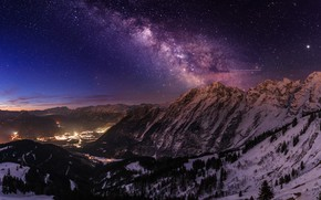 Wallpaper landscape, stars, the milky way, mountains, night, beauty