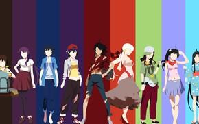 Picture kawaii, anime, manga, cast, bishojo, Bakemonogatari, Monogatari, japonese