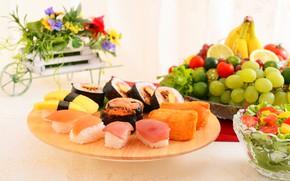 Picture fish, oranges, grapes, fruit, caviar, sushi, salad