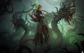 Picture fantasy, darkness, woman, monster, MAG, monster