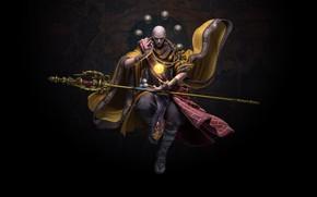 Picture magic, the game, art, monk, staff, Monk, hu zheng