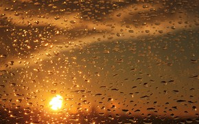 Picture glass, drops, sunset