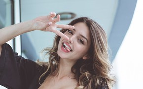 Picture girl, joy, hair, hand, beautiful, Celine Farach