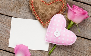 Picture rose, love, rose, heart, pink, romantic, sweet, gift, petals, valentine`s day