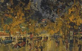 Picture night, Paris, picture, the urban landscape, Konstantin Korovin, Russian Boulevard