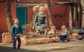 Picture children, childhood, boy, girl, jump rope