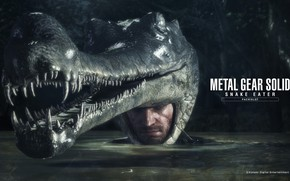 Wallpaper water, mask, helmet, camouflage, MGS, alligator, Metal Gear Solid 3: Snake Eater, big boss, naked ...