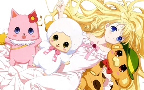 Picture girl, bear, nothing, anime, cat, animal, blonde, asian, sheep, manga, japanese, oriental, asiatic, Amagi Brilliant …