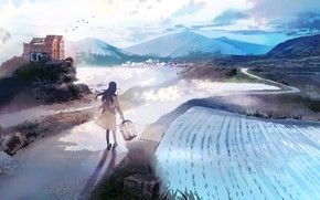 Picture landscape, nature, girl