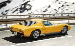 Picture Color, Auto, Road, Mountains, Yellow, Lamborghini, Rocks, Snow, Machine, Classic, Movement, 1971, Lights, Landscape, Car, …