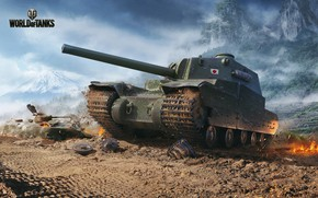 Picture the wreckage, mountains, fire, tank, World of Tanks