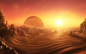 Picture Desert, sunrise on alien planet, Daniel Kvasznicza