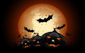 Wallpaper holyday, bats, vector, full moon, scary, pumpkins, Halloween, vector art, moon, night, spooky