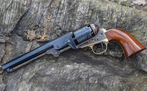 Picture background, trunk, revolver, 1851